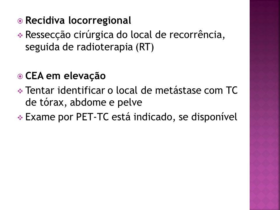 Recidiva locorregional Ressecção cirúrgica do local de recorrência, seguida de radioterapia (RT) CEA em elevação Tentar identificar o local de metásta