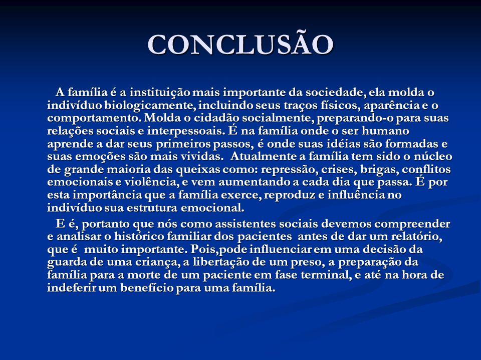 CONCLUSÃO A família é a instituição mais importante da sociedade, ela molda o indivíduo biologicamente, incluindo seus traços físicos, aparência e o c