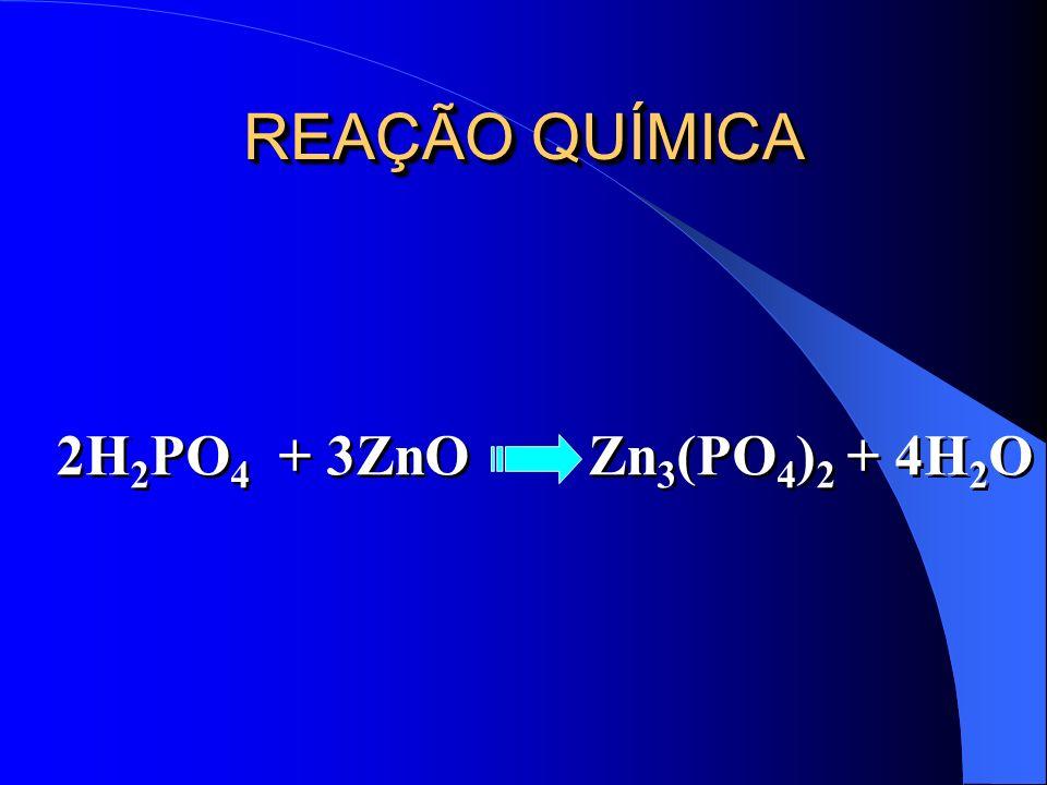 REAÇÃO QUÍMICA 2H 2 PO 4 + 3ZnO Zn 3 (PO 4 ) 2 + 4H 2 O
