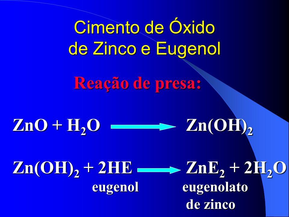 Cimento de Óxido de Zinco e Eugenol Reação de presa: Reação de presa: ZnO + H 2 OZn(OH) 2 Zn(OH) 2 + 2HEZnE 2 + 2H 2 O eugenol eugenolato eugenol euge