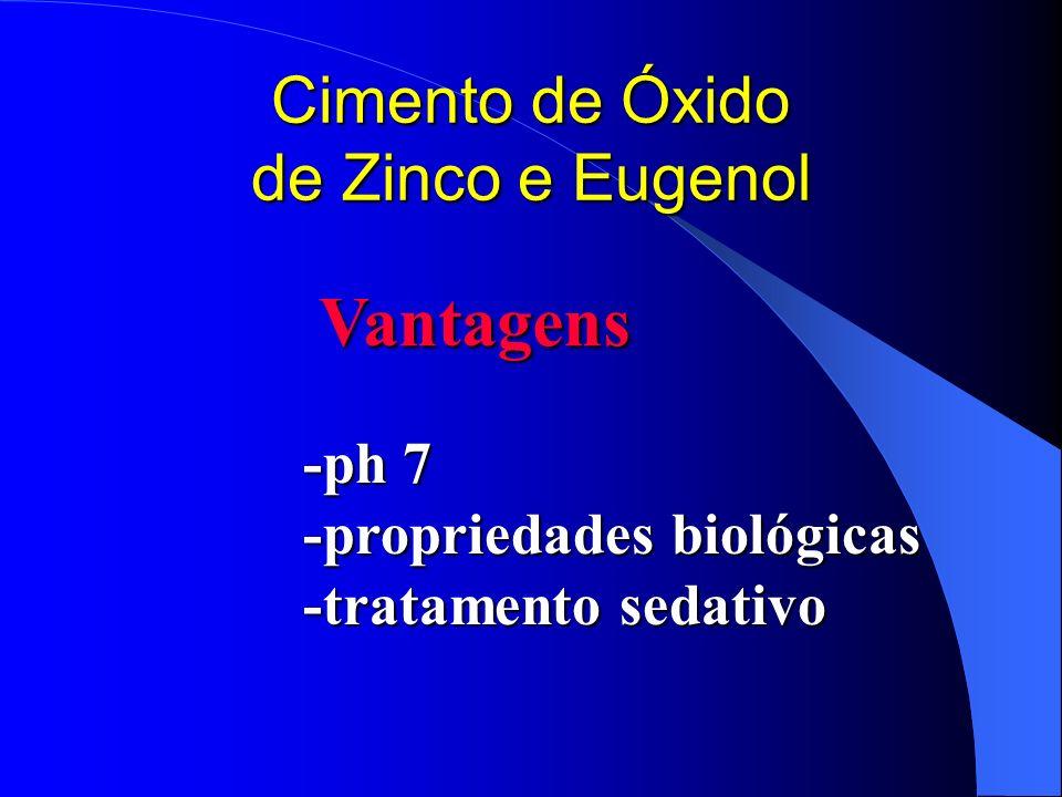 Cimento de Óxido de Zinco e Eugenol Vantagens -ph 7 -propriedades biológicas -tratamento sedativo