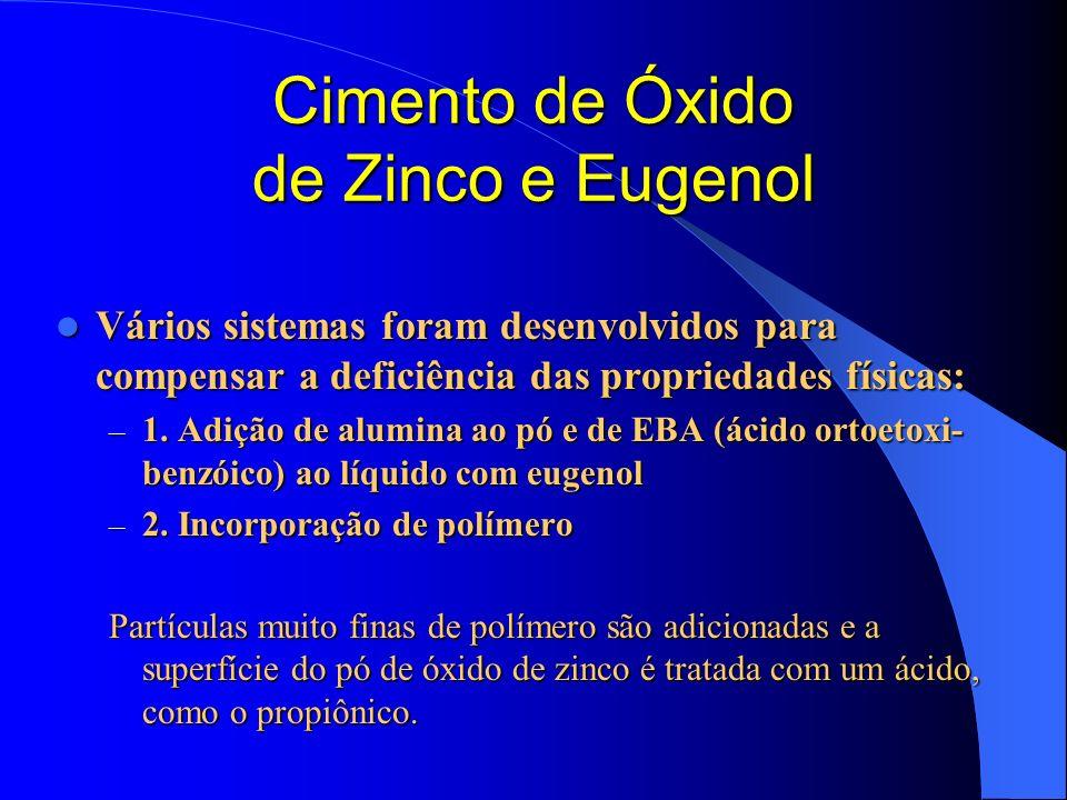 Cimento de Óxido de Zinco e Eugenol Vários sistemas foram desenvolvidos para compensar a deficiência das propriedades físicas: Vários sistemas foram d