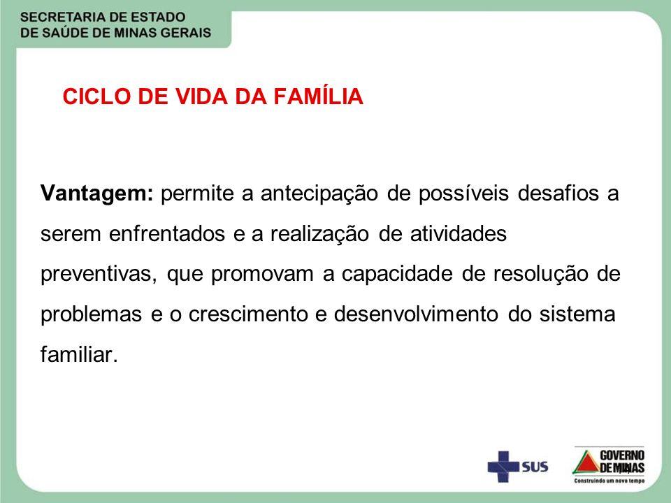 14 CICLO DE VIDA DA FAMÍLIA Vantagem: permite a antecipação de possíveis desafios a serem enfrentados e a realização de atividades preventivas, que pr