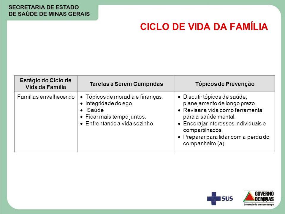 18 CICLO DE VIDA DA FAMÍLIA Estágio do Ciclo de Vida da Família Tarefas a Serem CumpridasTópicos de Prevenção Famílias envelhecendo Tópicos de moradia