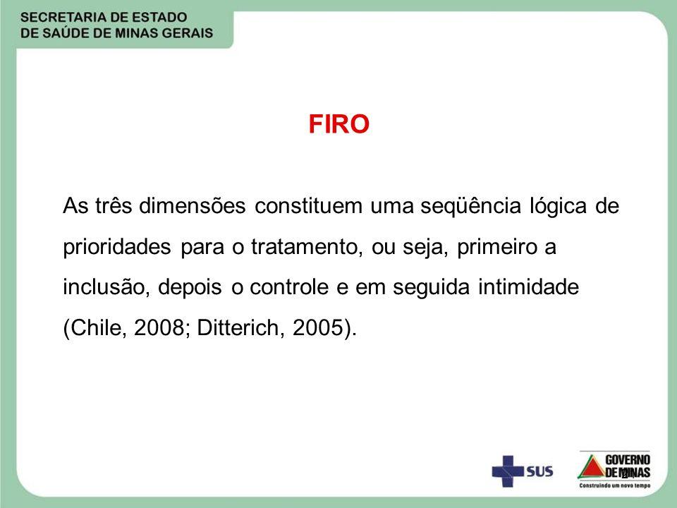 21 FIRO As três dimensões constituem uma seqüência lógica de prioridades para o tratamento, ou seja, primeiro a inclusão, depois o controle e em segui