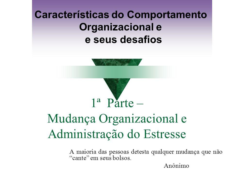 MUDANÇA ORGANIZACIONAL: CAUSADORES Robbins (1999) apresenta seis aspectos específicos que atuam como desencadeadores de mudança: 1.