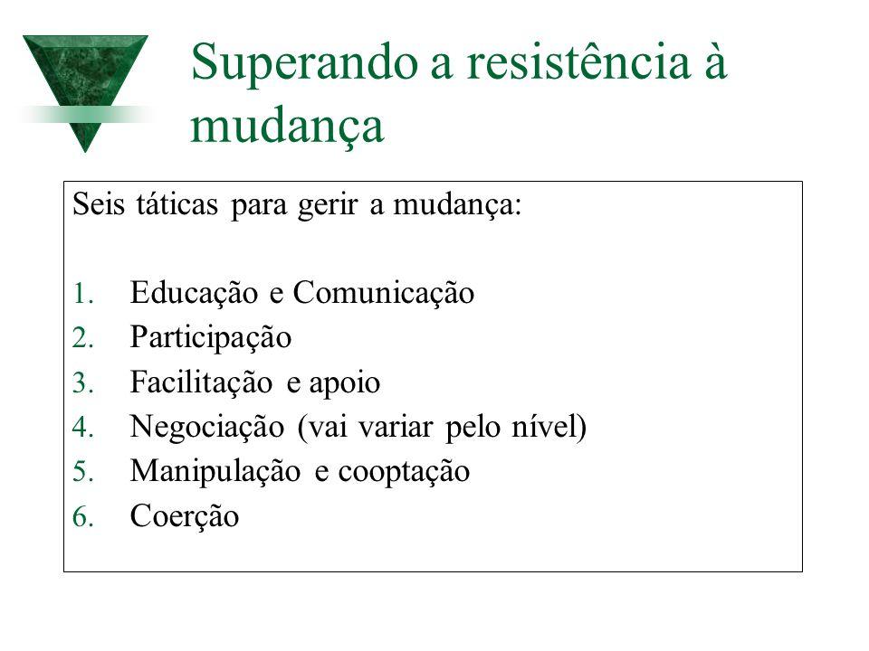Superando a resistência à mudança Seis táticas para gerir a mudança: 1. Educação e Comunicação 2. Participação 3. Facilitação e apoio 4. Negociação (v