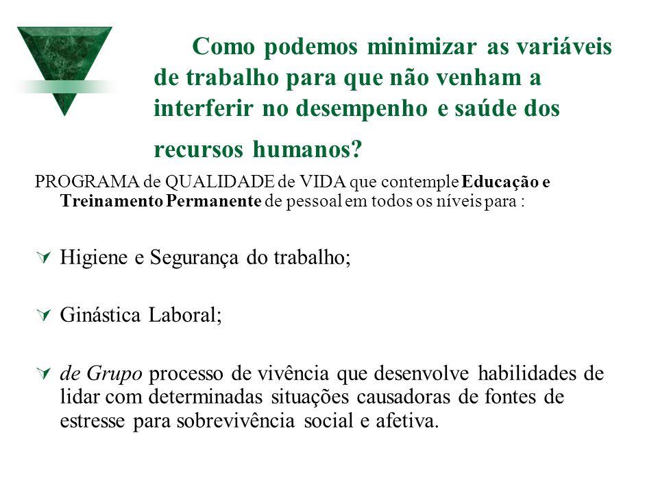 Como podemos minimizar as variáveis de trabalho para que não venham a interferir no desempenho e saúde dos recursos humanos? PROGRAMA de QUALIDADE de