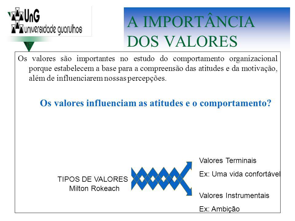 A IMPORTÂNCIA DOS VALORES Os valores são importantes no estudo do comportamento organizacional porque estabelecem a base para a compreensão das atitud