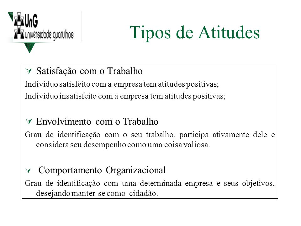 Tipos de Atitudes Satisfação com o Trabalho Indivíduo satisfeito com a empresa tem atitudes positivas; Indivíduo insatisfeito com a empresa tem atitud