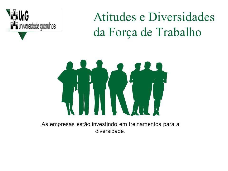 Atitudes e Diversidades da Força de Trabalho As empresas estão investindo em treinamentos para a diversidade.