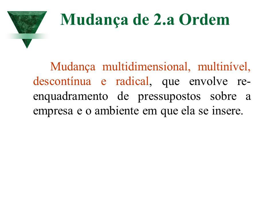 Mudança de 2.a Ordem Mudança multidimensional, multinível, descontínua e radical, que envolve re- enquadramento de pressupostos sobre a empresa e o am