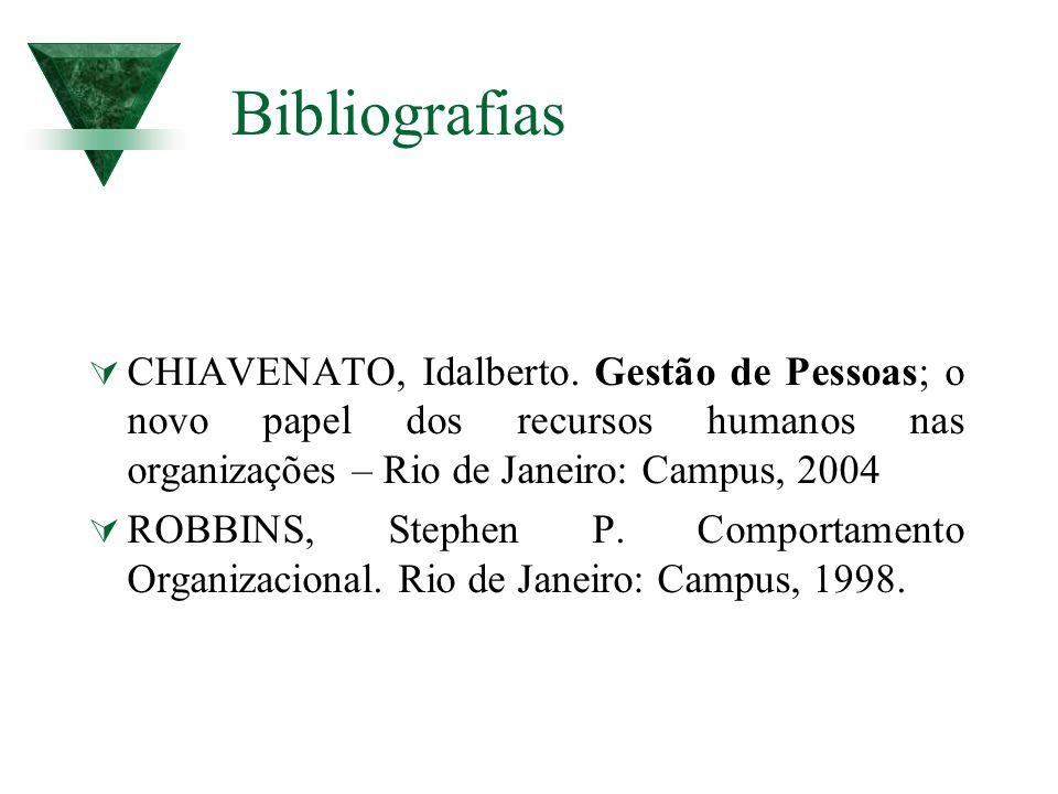 Bibliografias CHIAVENATO, Idalberto. Gestão de Pessoas; o novo papel dos recursos humanos nas organizações – Rio de Janeiro: Campus, 2004 ROBBINS, Ste