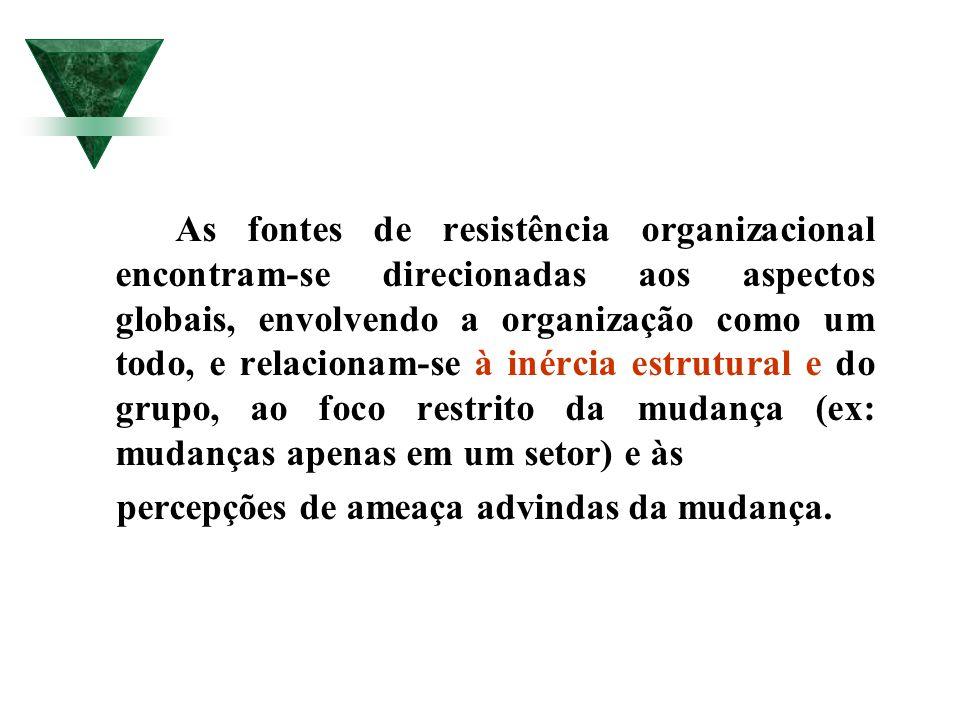 As fontes de resistência organizacional encontram-se direcionadas aos aspectos globais, envolvendo a organização como um todo, e relacionam-se à inérc