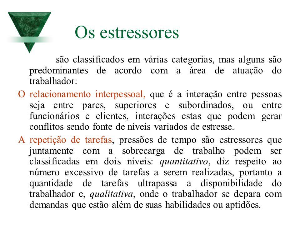 Os estressores são classificados em várias categorias, mas alguns são predominantes de acordo com a área de atuação do trabalhador: O relacionamento i