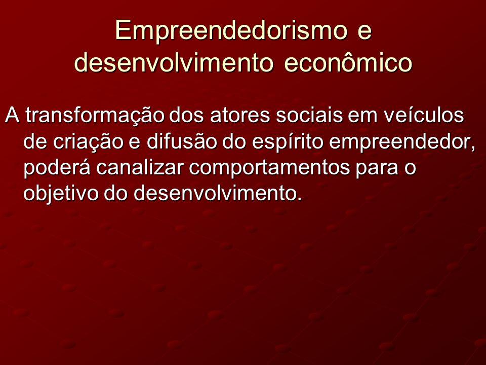 Empreendedorismo e desenvolvimento econômico A transformação dos atores sociais em veículos de criação e difusão do espírito empreendedor, poderá cana