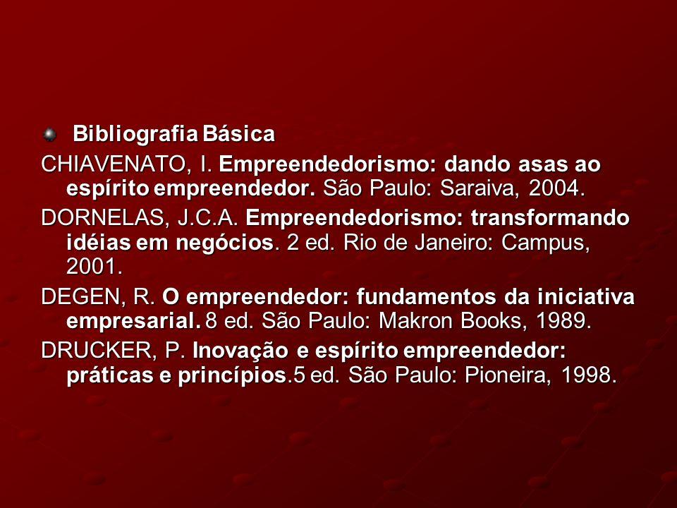 Bibliografia Básica Bibliografia Básica CHIAVENATO, I. Empreendedorismo: dando asas ao espírito empreendedor. São Paulo: Saraiva, 2004. DORNELAS, J.C.