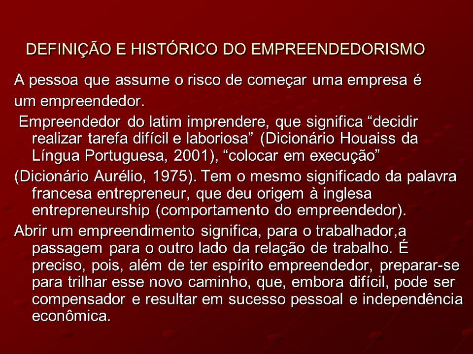 DEFINIÇÃO E HISTÓRICO DO EMPREENDEDORISMO DEFINIÇÃO E HISTÓRICO DO EMPREENDEDORISMO A pessoa que assume o risco de começar uma empresa é um empreended