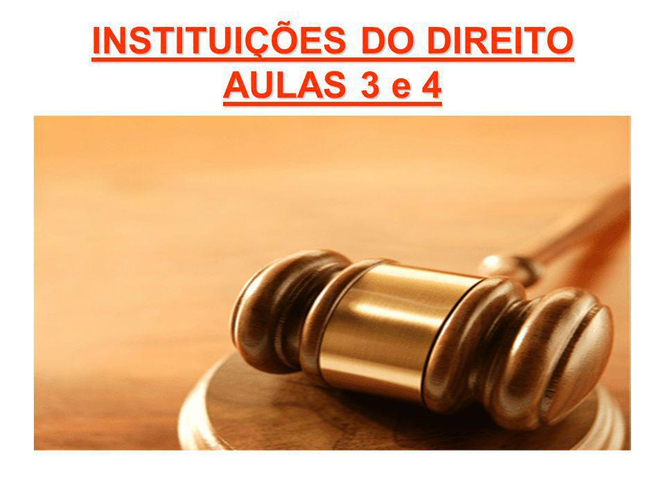 INSTITUIÇÕES DO DIREITO AULAS 3 e 4