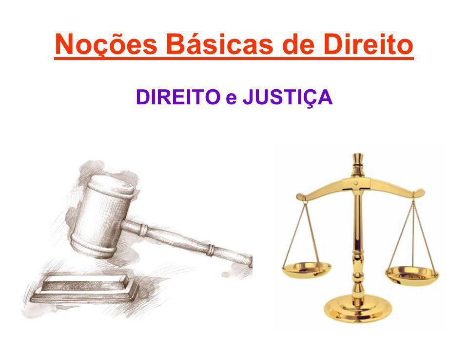 Noções Básicas de Direito Os iguais devem receber igualmente, e os não-iguais devem receber de modo diferente (igualdade), sendo recompensados de acordo com o valor de seu mérito e punidos conforme a gravidade de seus atos (proporcionalidade).