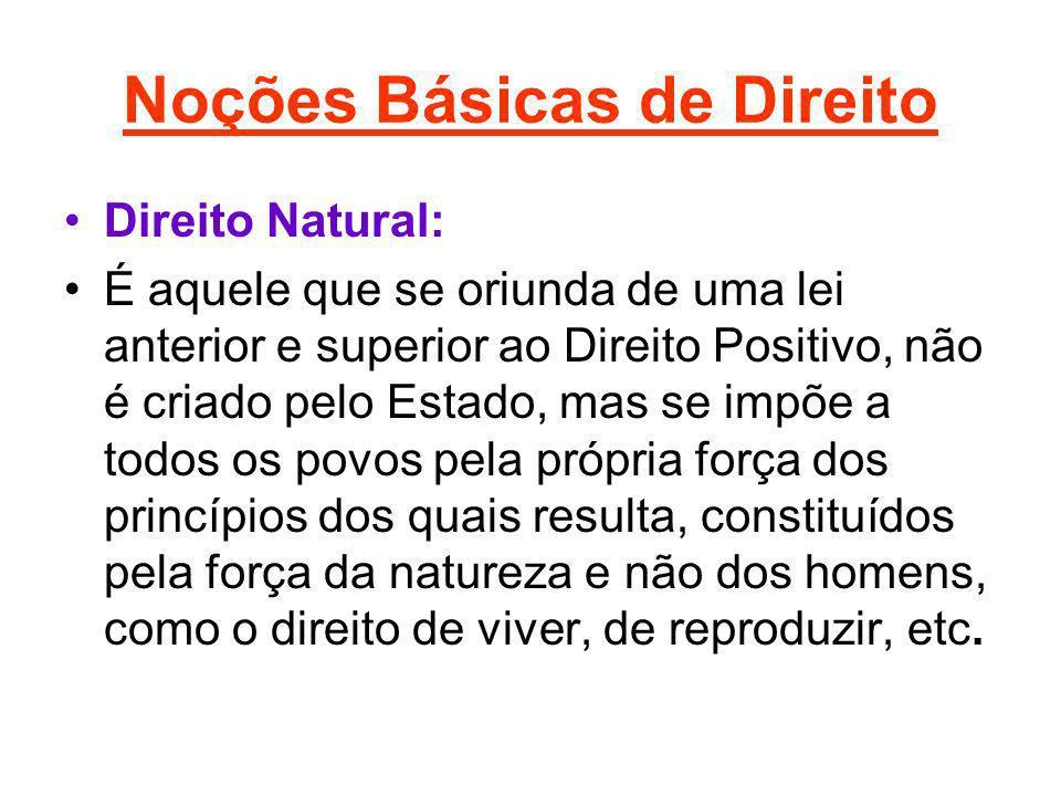Noções Básicas de Direito Direito Natural: É aquele que se oriunda de uma lei anterior e superior ao Direito Positivo, não é criado pelo Estado, mas s