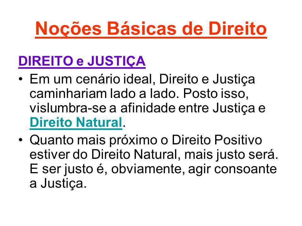 Noções Básicas de Direito DIREITO e JUSTIÇA Em um cenário ideal, Direito e Justiça caminhariam lado a lado. Posto isso, vislumbra-se a afinidade entre