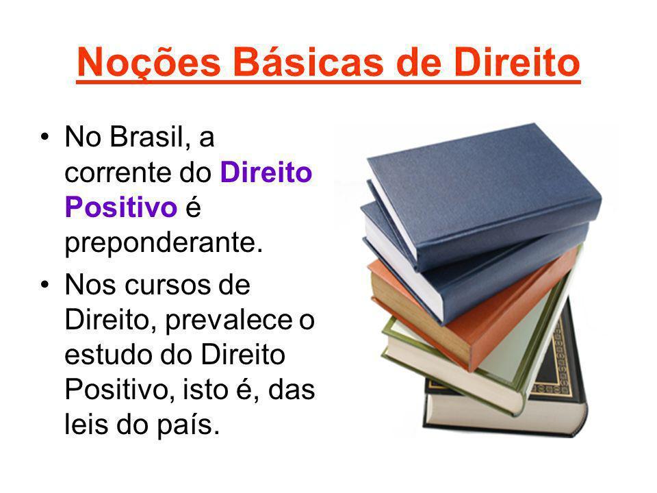Noções Básicas de Direito No Brasil, a corrente do Direito Positivo é preponderante. Nos cursos de Direito, prevalece o estudo do Direito Positivo, is