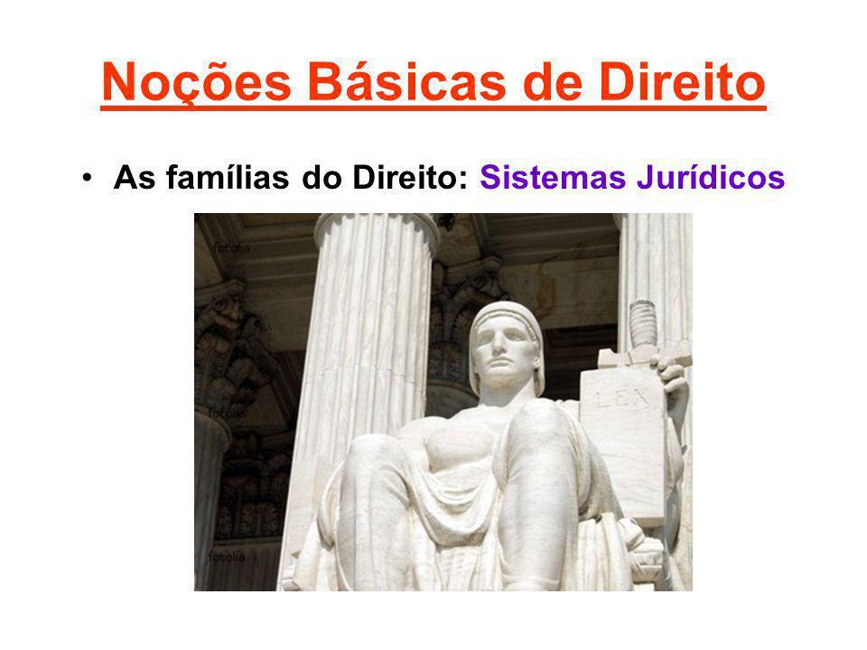 Noções Básicas de Direito As famílias do Direito: Sistemas Jurídicos