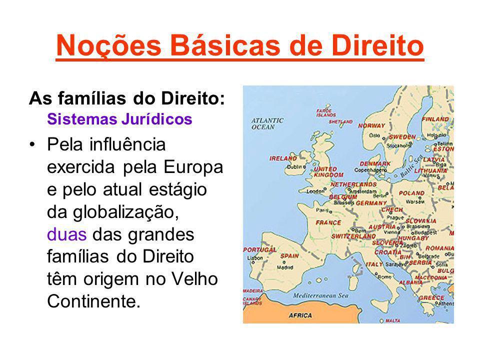 Noções Básicas de Direito As famílias do Direito: Sistemas Jurídicos Pela influência exercida pela Europa e pelo atual estágio da globalização, duas d