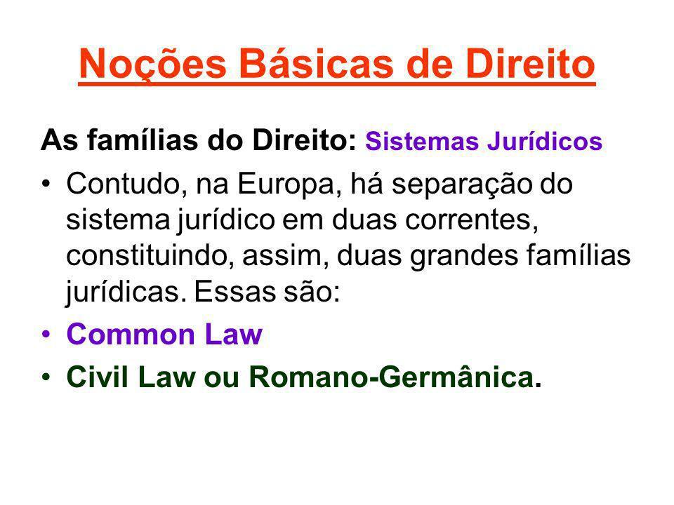 Noções Básicas de Direito As famílias do Direito: Sistemas Jurídicos Contudo, na Europa, há separação do sistema jurídico em duas correntes, constitui