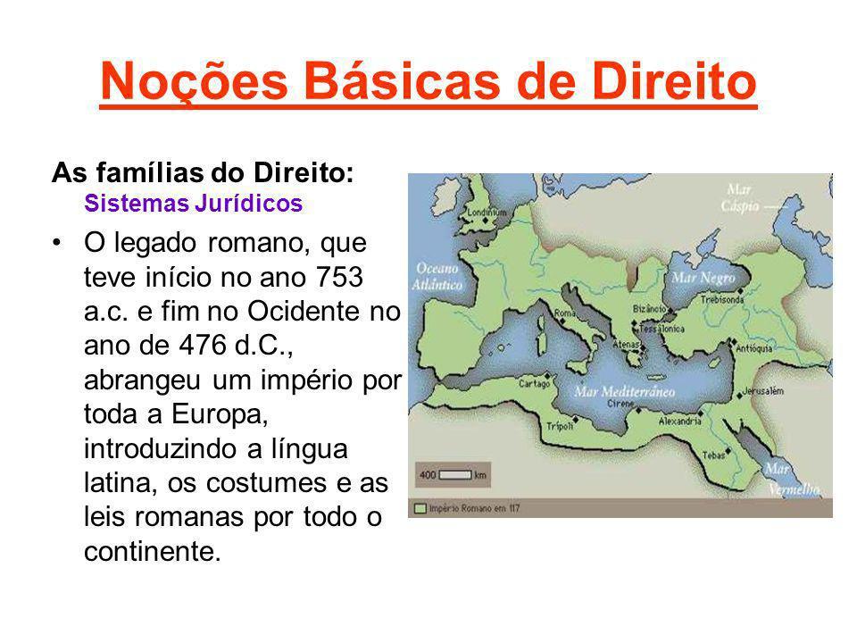 Noções Básicas de Direito As famílias do Direito: Sistemas Jurídicos O legado romano, que teve início no ano 753 a.c. e fim no Ocidente no ano de 476