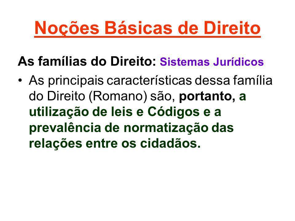 Noções Básicas de Direito As famílias do Direito: Sistemas Jurídicos As principais características dessa família do Direito (Romano) são, portanto, a