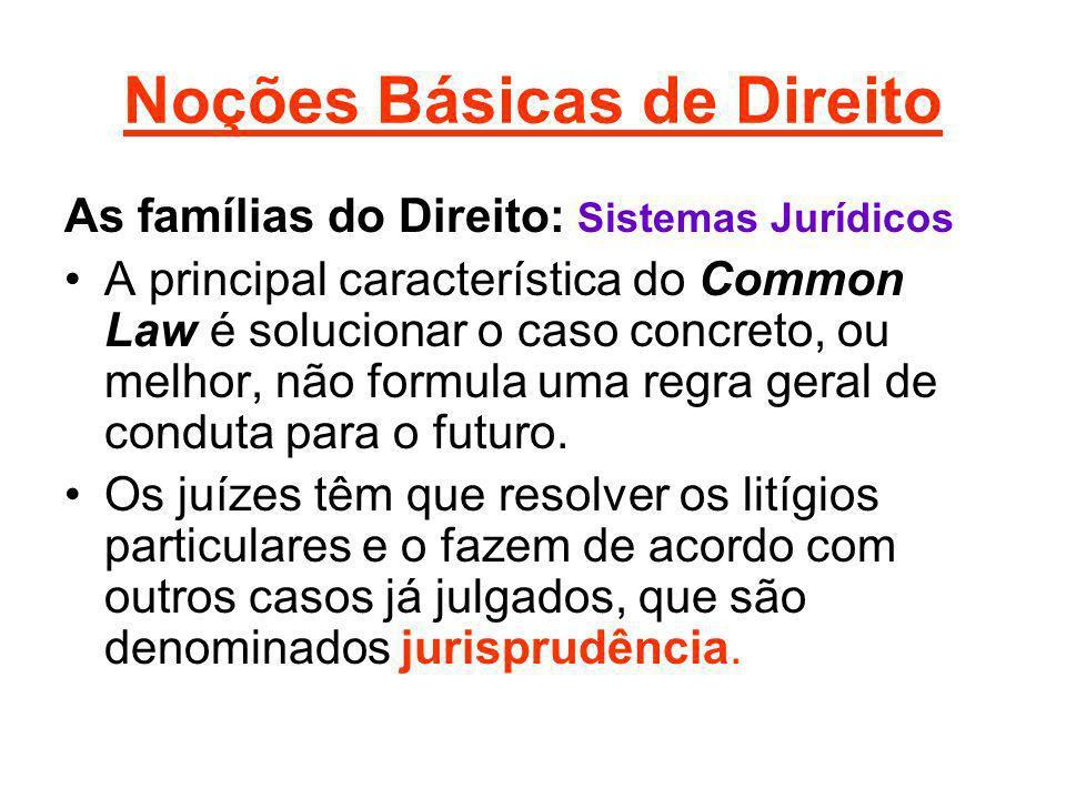 Noções Básicas de Direito As famílias do Direito: Sistemas Jurídicos A principal característica do Common Law é solucionar o caso concreto, ou melhor,