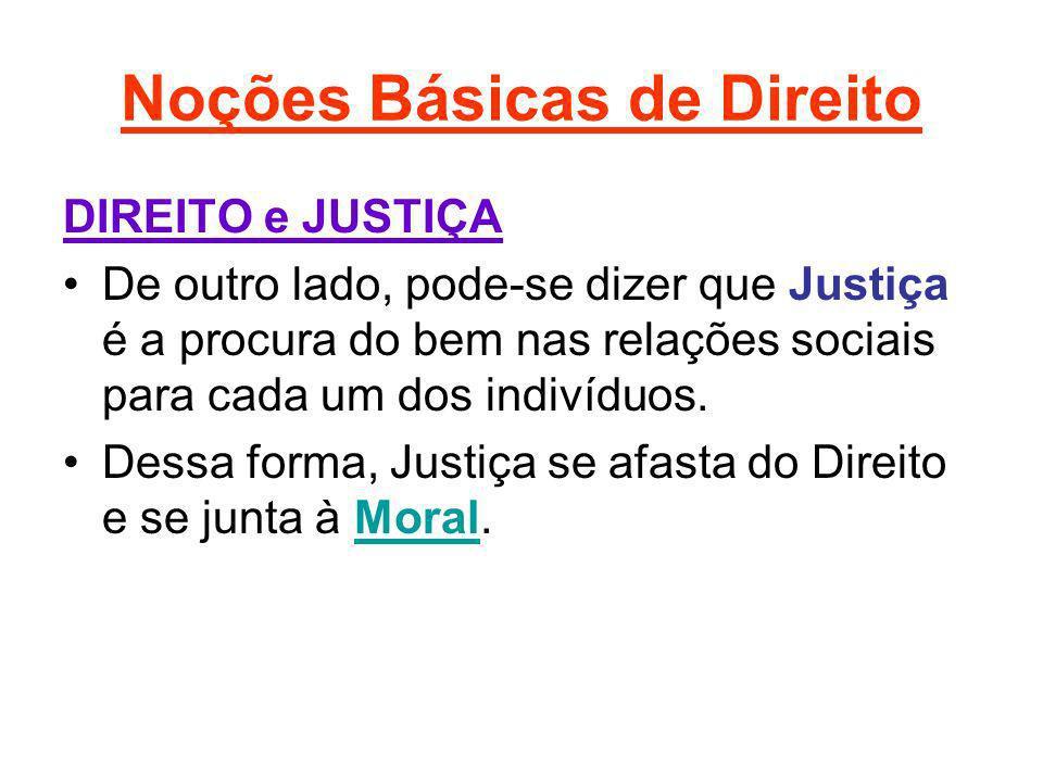 Noções Básicas de Direito DIREITO e JUSTIÇA De outro lado, pode-se dizer que Justiça é a procura do bem nas relações sociais para cada um dos indivídu