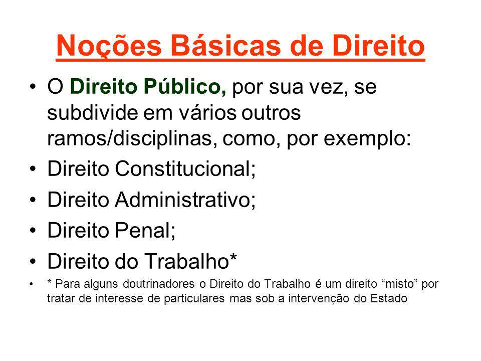 Noções Básicas de Direito O Direito Público, por sua vez, se subdivide em vários outros ramos/disciplinas, como, por exemplo: Direito Constitucional;