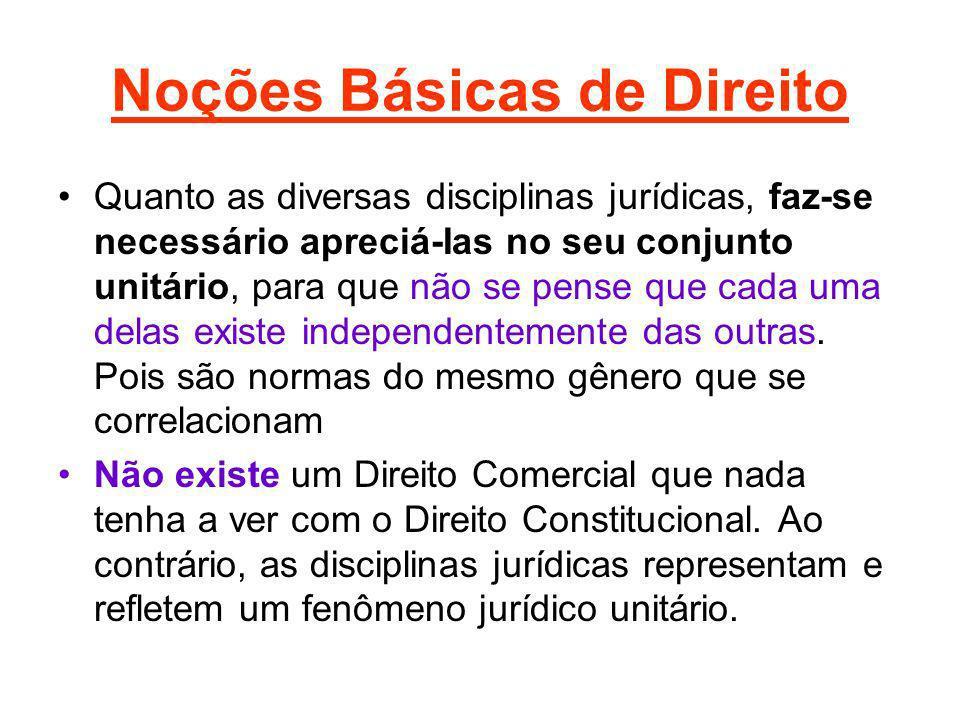 Noções Básicas de Direito Quanto as diversas disciplinas jurídicas, faz-se necessário apreciá-Ias no seu conjunto unitário, para que não se pense que