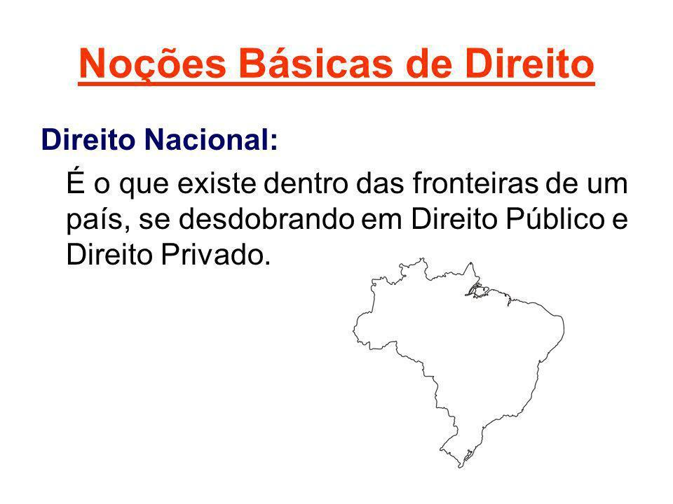 Noções Básicas de Direito Direito Nacional: É o que existe dentro das fronteiras de um país, se desdobrando em Direito Público e Direito Privado.