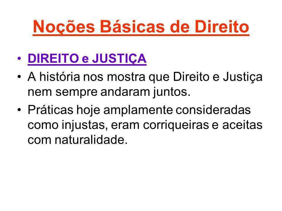 Noções Básicas de Direito Noções Preliminares do Direito: O Direito divide-se em duas Grandes Classes: Direito Público Direito Privado