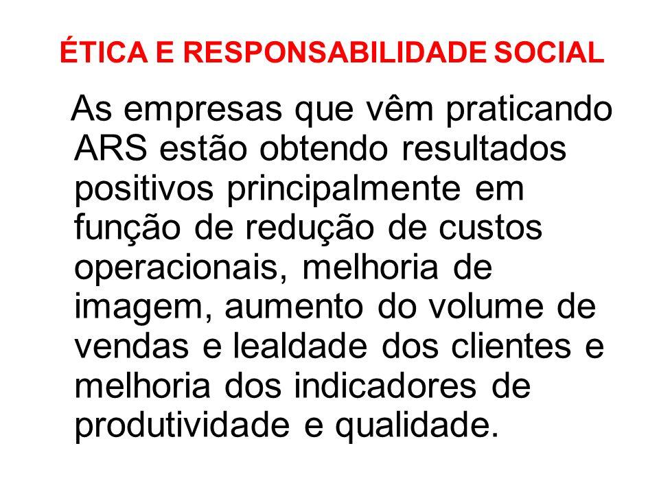 ÉTICA E RESPONSABILIDADE SOCIAL As empresas que vêm praticando ARS estão obtendo resultados positivos principalmente em função de redução de custos op