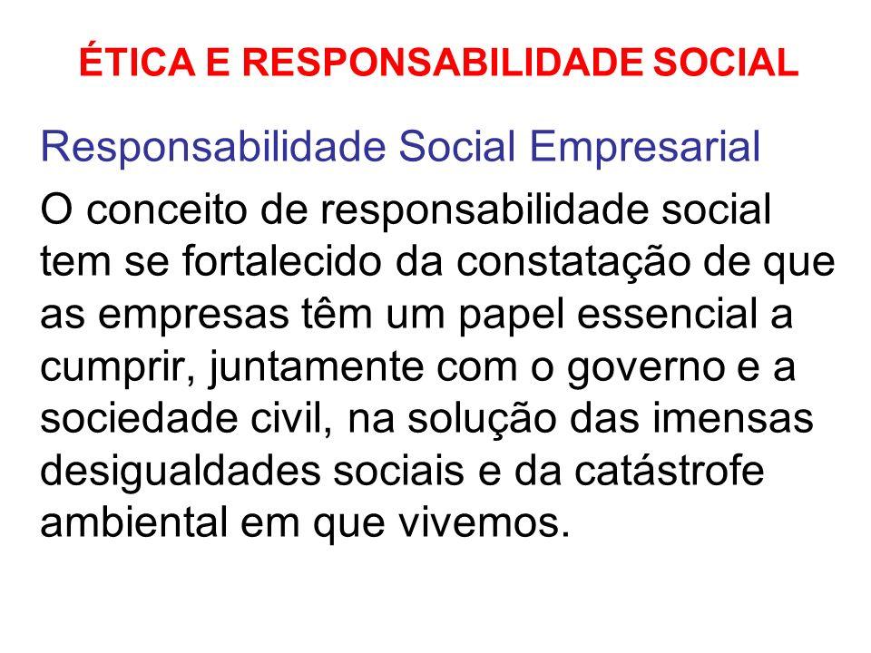 ÉTICA E RESPONSABILIDADE SOCIAL Responsabilidade Social Empresarial O conceito de responsabilidade social tem se fortalecido da constatação de que as