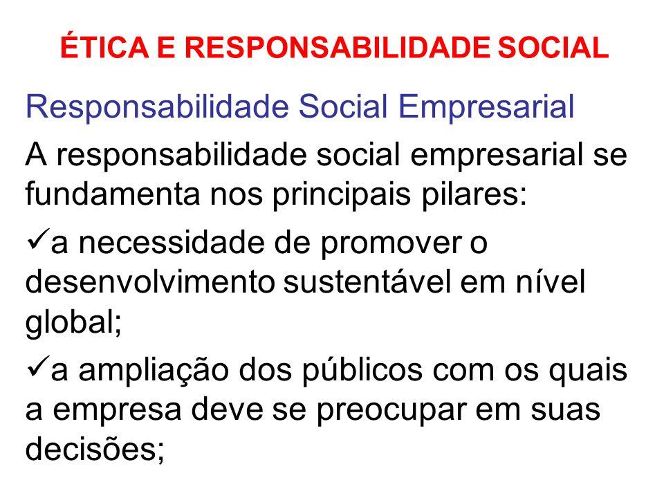 ÉTICA E RESPONSABILIDADE SOCIAL Responsabilidade Social Empresarial A responsabilidade social empresarial se fundamenta nos principais pilares: a nece