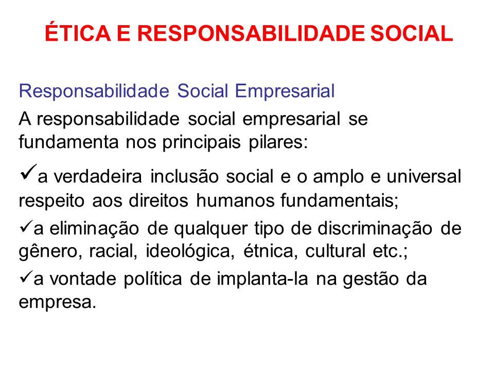 ÉTICA E RESPONSABILIDADE SOCIAL Responsabilidade Social Empresarial A responsabilidade social empresarial se fundamenta nos principais pilares: a verd