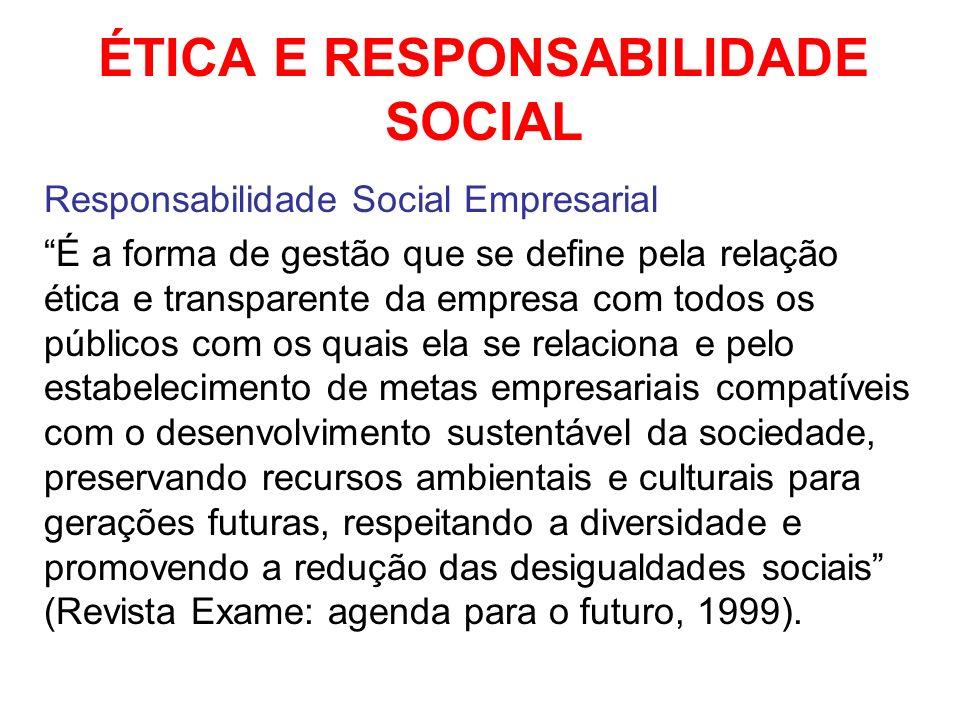 ÉTICA E RESPONSABILIDADE SOCIAL Responsabilidade Social Empresarial É a forma de gestão que se define pela relação ética e transparente da empresa com