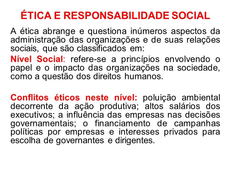 ÉTICA E RESPONSABILIDADE SOCIAL A ética abrange e questiona inúmeros aspectos da administração das organizações e de suas relações sociais, que são cl