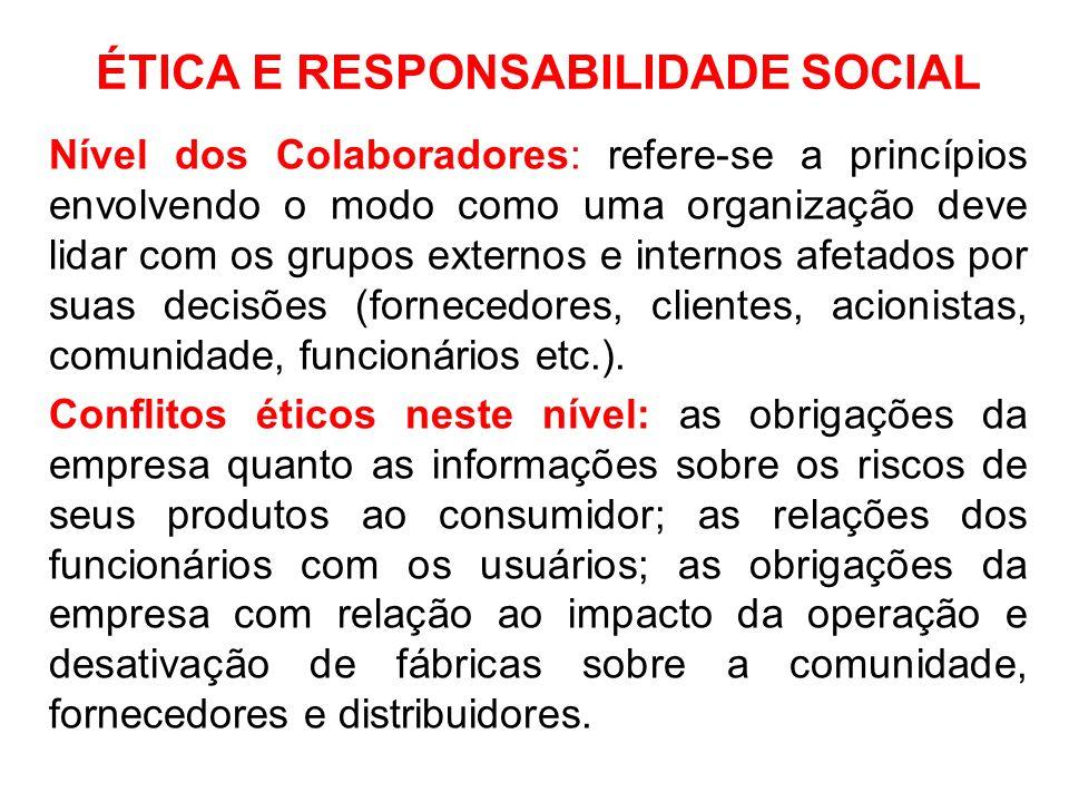ÉTICA E RESPONSABILIDADE SOCIAL Nível dos Colaboradores: refere-se a princípios envolvendo o modo como uma organização deve lidar com os grupos extern