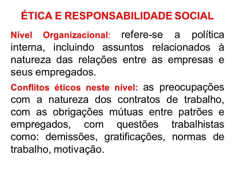 ÉTICA E RESPONSABILIDADE SOCIAL Nível Organizacional: refere-se a política interna, incluindo assuntos relacionados à natureza das relações entre as e