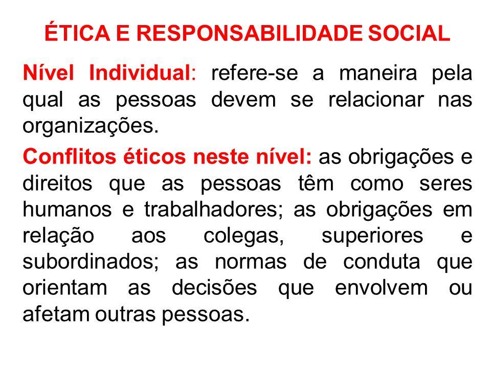 ÉTICA E RESPONSABILIDADE SOCIAL Nível Individual: refere-se a maneira pela qual as pessoas devem se relacionar nas organizações. Conflitos éticos nest