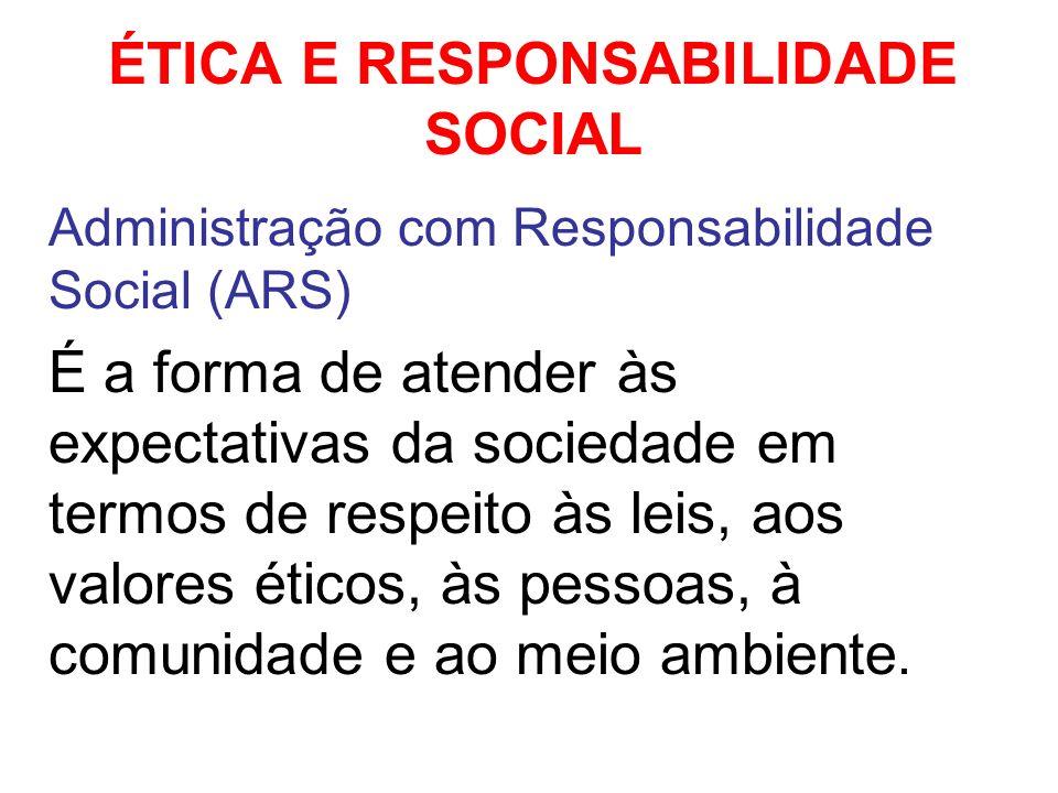 ÉTICA E RESPONSABILIDADE SOCIAL Administração com Responsabilidade Social (ARS) É a forma de atender às expectativas da sociedade em termos de respeit
