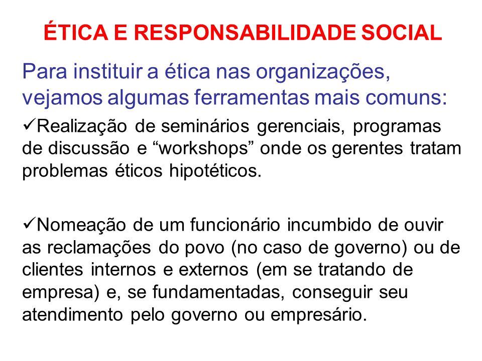 ÉTICA E RESPONSABILIDADE SOCIAL Para instituir a ética nas organizações, vejamos algumas ferramentas mais comuns: Realização de seminários gerenciais,