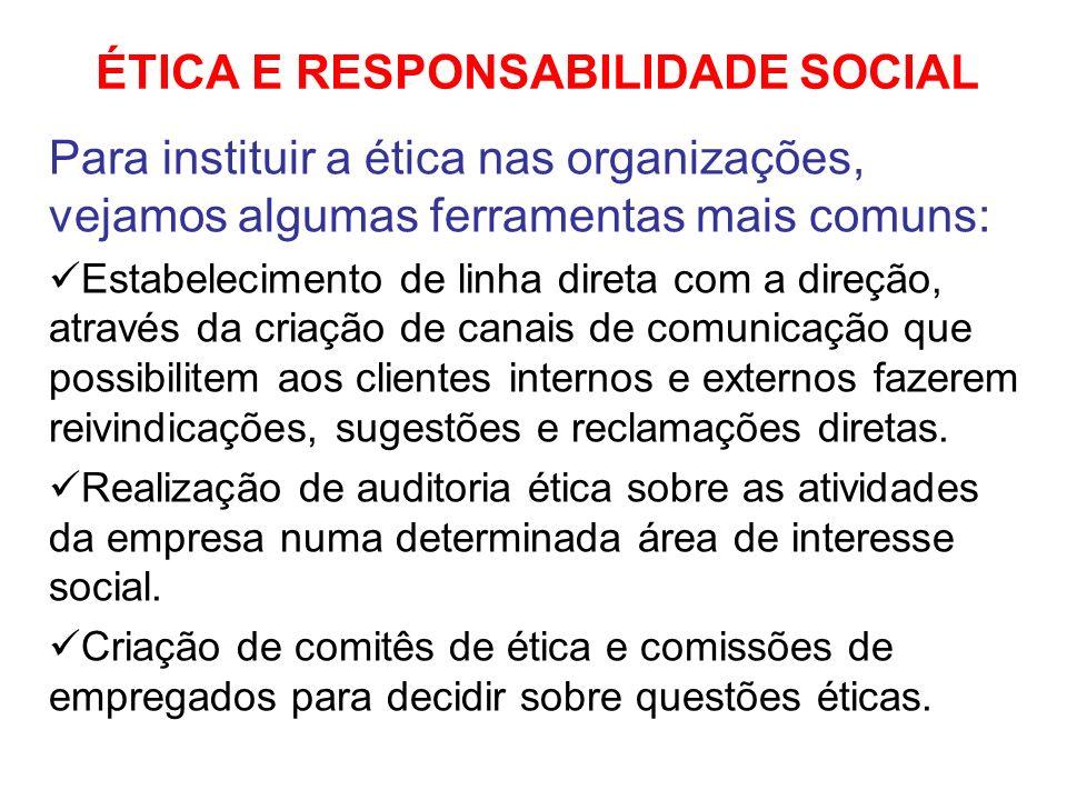 ÉTICA E RESPONSABILIDADE SOCIAL Para instituir a ética nas organizações, vejamos algumas ferramentas mais comuns: Estabelecimento de linha direta com